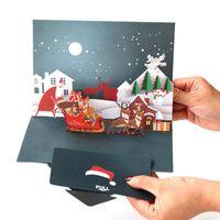 ano novo 3d feito à mão venda por atacado-Atacado cartão de Natal DIY handmade 3D ano novo cartões de visita para presentes frete grátis
