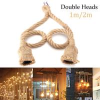lampe à suspension à une tête achat en gros de-E27 Suspension Lampe Base en corde de chanvre Fixation Corde Plafond Base Base pour plafond Vintage Vintage rétro 1 / 2M Double / têtes simples