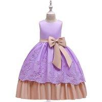 avrupa elbisesi kıyafetleri toptan satış-2019 Çiçek kız elbise küçük Avrupa ve Amerika ins kızlar rop yay elbise kostümleri çocuk uzun etekler uzun elbise parti gelinlik