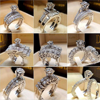 Wholesale vintage wedding set rings for sale - Group buy 30pcs mixed Crystal White Round Ring Set Brand Luxury Promise Silver Engagement Ring Vintage Bridal Wedding Rings for Woman