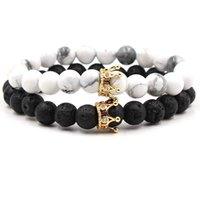 ingrosso nuovo uomo in oro bianco del braccialetto-NUOVI branelli di pietra bianchi neri con il braccialetto di fascino della corona di colore dell'argento dell'oro per la pulsera dei gioielli dei braccialetti dei braccialetti degli uomini delle donne DropShipping