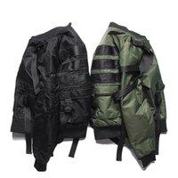 städtischen kleiderstil großhandel-High-Street Original Solid Color Strap Piloten MA1 Jacke Flut Rock Punk Stil Verdickung Mantel Flut Männer Urban Kleidung