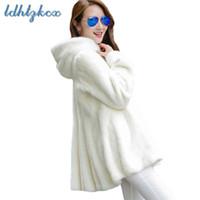 weißer mantel schwarz trimmen großhandel-Pelzmantel Frauen Schwarz und Weiß Plus Size Langarm Kapuzenpelzjacke 2018 Winter neue koreanische Büro Chic dicke Kleidung LD650