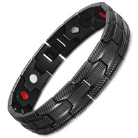 Wholesale infrared bracelet for sale - Group buy Stainless Steel Bracelet Black Man s Magnet Germanium Anion Far Infrared Bracelet
