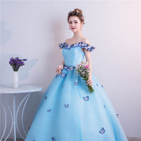 Wholesale freeship butterfly ball gown vintage rococo medieval dress Renaissance princess fairy cosplayVictorian dress Marie
