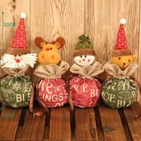 chocolates orgânicos venda por atacado-1 pc Algodão Papai Noel Natal Maçã Chocolates Sacos de Presente Saco de Cordão de Lona Orgânica 4 Opção Padrão