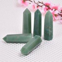 ingrosso pietra verde per la decorazione-6 pz Verde naturale avventurina Cristallo Punto Magico Cristallo Di Quarzo Point Healing Bacchetta Esagonale Trattamento Pietra Decorazione Della Casa All'ingrosso