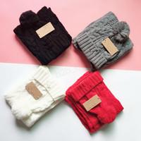 Wholesale white crochet cap for sale - Group buy Winter Australia Beanies Scarf Set Hats pom pom Beanie Knitted hat Casual wool warm Cap With letter Scarves For Men Women LJJA2947