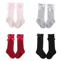 büyük bağcıklı çoraplar toptan satış-Yeni Çocuk Kız Büyük Yay Yumuşak Pamuk Dantel Bebek Çorap Çocuklar Güzel Rahat Çorap 2019
