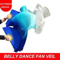 mavi göbek dansı toptan satış-Yeni gelenler ucuz oryantal dans fan peçe 1 çift mavi turkuaz beyaz