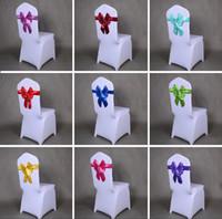 сатиновые стулья оптовых-Эластичный Атлас синий свадебный лук стул охватывает Саш группа обеденный зал спиной отель стулья створки бантом спандекс пряжки обложка обратно хостел отделка