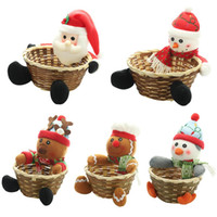 Wholesale fruit basket bamboo for sale - Group buy 2020 Christmas Candy Storage Basket Doll Fruit Decoration Bowl Snowman Santa Claus Elk Bamboo Candy Bucket New Year Decor