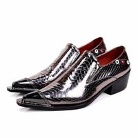 mocasines de vestir de cuero para hombres al por mayor-Sexy2019 Hombres Pop Italian Men Leather Spiked Heels Zapatos de vestido de novia Shiny Mens Luxury Loafers Plus