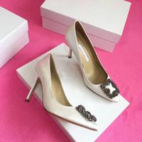 ingrosso sandalo degli alti talloni della sposa-2019 di alta qualità Designer Party Scarpe da sposa Sposa Donna Sandali delle signore Moda scarpe vestito sexy scarpe a punta Tacchi alti in pelle Glitter Pu