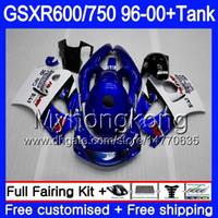 fábrica de carenados al por mayor-Cuerpo + tanque para SUZUKI SRAD GSXR 750 600 GSXR600 96 97 98 99 00 291HM.15 GSXR-600 GSXR750 1996 1997 1998 1999 2000 Factory blue hot Fairings