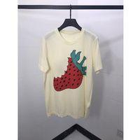erdbeer-t-stücke großhandel-2019ss Strawberry Printed Frauen Männer Kurzarm T-shirt Tops Tees Männer Streetwear Baumwolle T-shirt Sommer Stil
