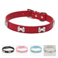 Wholesale dog bone collar resale online - Pet Collar Fashion Metal Bone Adjustable Dog Collar Cat Puppy