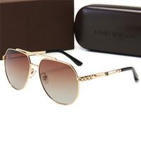 старинные солнцезащитные очки для мужчин оптовых-Высококачественные роскошные дизайнерские негабаритные женские солнцезащитные очки Driving men Vintage UV400 очки металлические с шестигранной оправой Солнцезащитные очки с коробкой -13