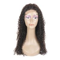 larga peluca rizada natural al por mayor-Caliente Popular peluca de cabello humano Natural suave negro rizado ondulado 360 encaje peluca pelucas largas y baratas con el pelo del bebé vendedor