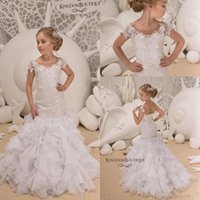 Wholesale corset gown flower skirt online - White Lovely Short Sleeve Mermaid Flower Girl Dress Sheer Neck Lace Appliqued Tiered Skirts Corset Back Flower Pageant Gowns