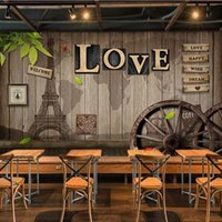 Wholesale wheel mould for sale - Group buy Retro personality LOVE wallpaper wooden wheel wallpaper Cafe dining room living room wall paper mural