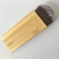 logos de cosméticos de belleza al por mayor-Pincel de maquillaje de bambú Big Flat Foundation Powder Contour Cosmetic Brushes Beauty Tool pincel de maquillaje con logotipo LJJK1711