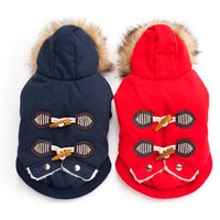 Wholesale diapers for puppies resale online - Outdoor Winter Jackets for Pet Dog Clothes Puppy Jumpsuit Clothing Pet Apparel Winter Dog Outfits Warm Dog Coat With Hood Fur Collar