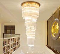 lobi için modern avize ışıkları toptan satış-Yeni Tasarım Modern Spiral Kristal Avize Aydınlatma Altın Uzun Kolye Avizeler Işık LED lambalar için Otel Lobi Villa Merdiven MYY