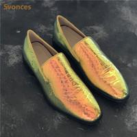 ingrosso scarpe da snakeskin scarpe uomo-Fashion Dressing Mens Shoes Colorful Snakeskin Pattern Low Heels Flats Mocassini Uomo Casual Shoes Large Size Uomo in pelle