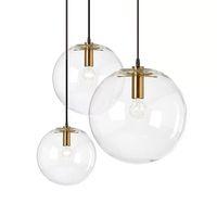 e27 шаровые шаровые лампы оптовых-Nordic Glass Ball Подвеска Освещение Прозрачная Пузырьковая Люстра Подвеска Globe Lamp Золотой / Медный / Черный цвет