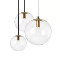 suspensions en cuivre noir achat en gros de-Nordic Glass Pendant Pendant éclairage clair Bubble Lustre Suspension Globe Lampe Or / Cuivre / Noir couleur