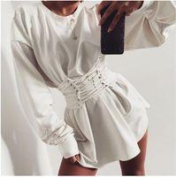 atadura de gravata venda por atacado-Bandage dress girdling outono e inverno manga longa mulheres vestido estilo túnica rua em torno do pescoço pulôver cruz arco superior empate