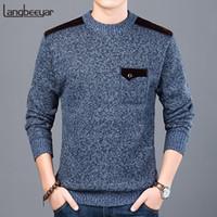 jersey de estilo coreano para hombre al por mayor-2019 Nueva marca de moda suéter para hombre jerseys Slim Fit Jumpers prendas de punto O-cuello otoño estilo coreano ropa casual masculina
