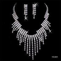 Wholesale accessories resale online - New Design Elegant Silver Plated Pearl Rhinestone Bridal Necklace Earrings Jewelry Set Cheap Accessories for Prom
