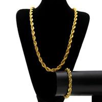 pulsera para hombre 14k al por mayor-2pcs / set Mens 14k Gold Silver Twist Cuban Link Chains Collares y Hip Hop Pulseras de joyería de moda