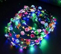 ingrosso la fascia della corona dei fiori-10 fiori + 10 LED corona luminosa fascia luminosa flash fiore copricapo copricapo ragazze notte forniture per feste decorazione L310