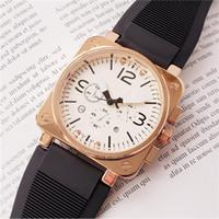 büyük kadran kare saatler toptan satış-Relogio masculino 45mm askeri spor stil büyük erkekler saatler 2019 lüks moda tasarımcısı siyah Kare dial benzersiz silikon büyük erkek saat