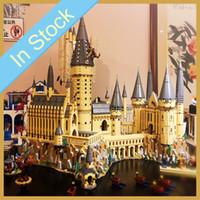 kale seti toptan satış-Stokta 16060 6044pcs Potter Film Kale Sihirli Okul Modeli Seti Yapı Taşları Tuğlalar Çocuk Oyuncakları Yılbaşı Hediyeleri 71043