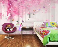 Wholesale cherry blossom wall art painting for sale - Group buy 3d wallpaper custom photo murals Pink cherry blossom D children s room background wall painting decor wall art pictures