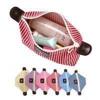 kosmetiktaschen verpackung großhandel-Color Mix zylindrische Form Stripe Washing Pakete Kosmetik Handtuch Taschenlampe Aufbewahrungstasche Im Freien Beutel leicht tragen 2 9HS X