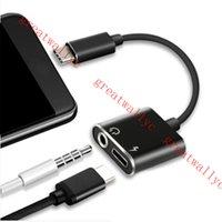 ingrosso convertitori di jack-Tipo C Adattatore audio da C a 3,5 mm Jack Cavo convertitore audio auricolare per Samsung S8 Huawei Mate 20 LG G6 Xiaomi 6