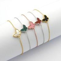 papillon d'argent blanc achat en gros de-Mode titane acier bracelets papillon argent blanc femmes bracelet fleurs amour bracelets femmes Saint Valentin cadeau bijoux en gros