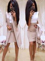 ofis kadınları için resmi elbiseler toptan satış-2019 Yeni Ofis Lady Resmi elbise İş Kadınlar Uzun Blazer Ceket Kılıf Elbise 2 Adet Kadın Takımları SH190928 Wear Suits
