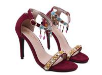 sapatos folk mulheres venda por atacado-2019 Novo Verão EUA tamanho: 4-10 mulheres sandálias folk-personalizado Beading Moda flanela Leaky toe sapatos de salto alto 345