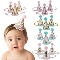Wholesale baby shower cake decorations boy resale online - 1PC Baby Shower Decorations Cake Caps Cute Shiny Boys Girls Birthday Crown Hats Party Photo Props Kids Hairball Caps
