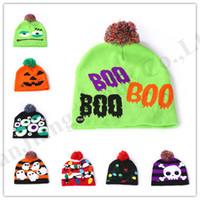 Wholesale white crochet cap resale online - Junior s LED Beanies Hallowmas Knit Hats Kids Boyys Girls Pom Skull Caps Snowman Pumpkin Ghost Christmas Knitting Hat Children Beanie B82104