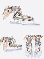 ingrosso sandali della cinghia delle ragazze-Fashion Ladies KaleiDiorscopic Sandalo infradito con nuda Kaleidiorscopic stampato in seta Mitzah sciarpa Sandali firmati Girl Summer Beach Slides