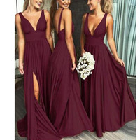 Wholesale coral bridesmaid robes for sale - Group buy Deep V Neck Burgundy Bridesmaid Dresses A Line Backless Sexy Split Prom Evening Dresses Formal Party Gown Robe de soiree BM0141
