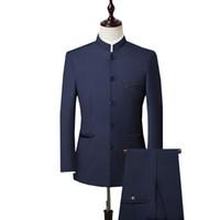 casaco casamento chinês homens venda por atacado-Men 3 peça Suit (Jacket + Pant + Vest) Estilo Chinês Levante Suit Collar Male do casamento do noivo Slim Fit Plus Size 4XL Blazer Set
