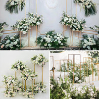 Wholesale photo hawaii resale online - DIY Wedding Centerpieces stage backdrops aisle walkway Floor Vases Flowers Vase stand Metal Pillar Road Lead photo prop metal Rack vases